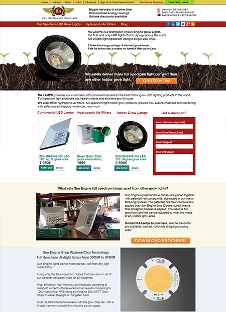 RaLamps web design by Michael Paragon