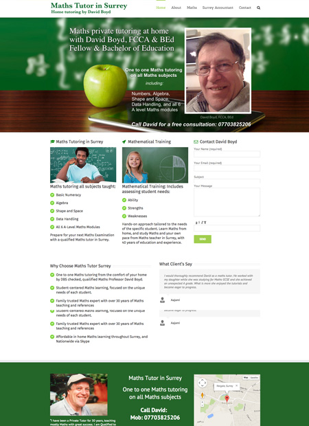Maths tutor Surrey web design