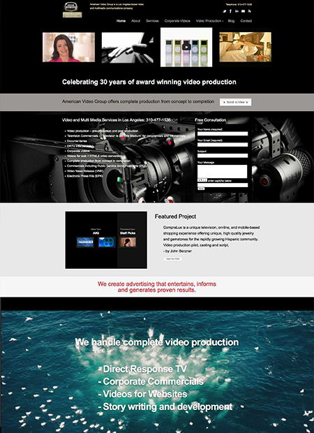 American video group web design by Michael Paragon