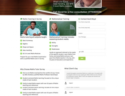 Maths Tutor Surrey WordPress Website