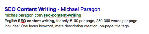 SEO Content Writing meta description